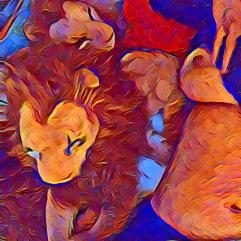 Rob/Bor semi-naakt leeuwenkunst
