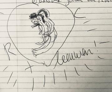 Snel tekeningetje in mijn dagboek over gevoelde situatie met Rob 2018