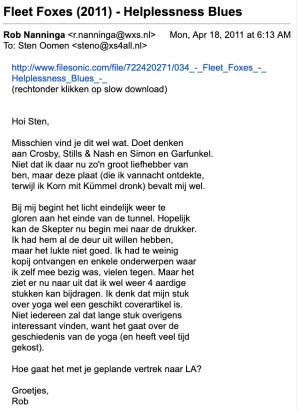 De mailreeks waarin Rob over de Rosche Kööm begon